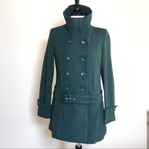Forever 21 belted high neck pea coat  size L